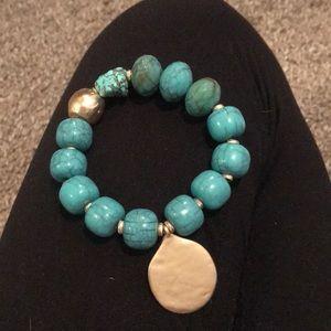 Turquoise beaded rock bracelet
